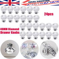 24pc 40mm Diamond Clear Crystal Glass Door Pull Drawer Knob Handle Cabinet AU