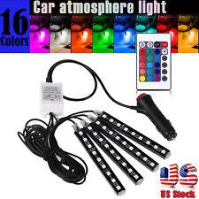 4x LED RGB Under Car Tube Glow Underglow Underbody System Neon Strip Lights Kit