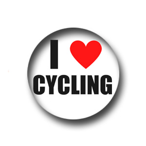 I LOVE CYCLING PIN BADGE (1 inch / 25mm) CHEAP POSTAGE FOR BULK BUYS
