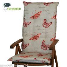 6 x Auflagen 8 cm dick - beige rot für Hochlehner Gartenstuhl Sessel 120 cm lang