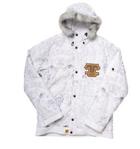 Technine Stitched Shell Snowboard Jacket Mens Medium White New Removable Fur
