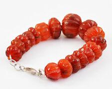 Amazing 360.00 Cts Natural Untreated Orange Carnelian Round Shape Beads Bracelet