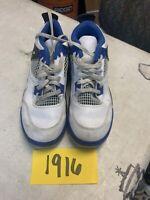 Youth Nike Air Jordan 4 Retro Motorsports White/Blue/Black 308499-117 Sz 3Y