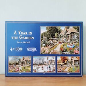 Gibsons 4 X 500 Piece Jigsaw Puzzle A Year In The Garden (Unchecked)