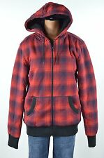 Mossimo Womens Red Black Plaid Faux Fur Lining Zip Front Hooded Coat Jacket sz S