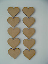10 x 5cm Wooden MDF HEARTS blank craft shape embellishments scrapbooking (NH)