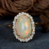 2.68 Ct. Opal Gemstone Cocktail Ring Diamond Pave Solid 14k Yellow Gold Jewelry