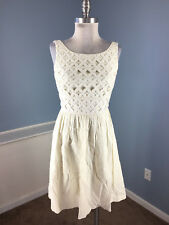 Antonio Melani Xs 2 4 Ivory Cream Dress Linen A Line Flare Career Cocktail party