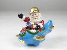 10585 Santa Claus Flying Airplane Salt Pepper Shaker Set Christmas Pilot Captain