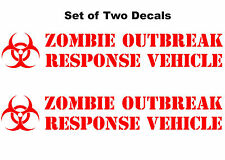 Two Custom Vinyl Zombie Response Vehicle Biohazard Car Window Decal / Sticker