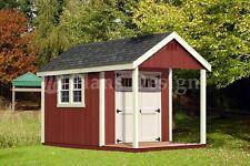 12' x 8' Cabin Loft Utility Shed with Porch Plans / Blueprints - Design #P61208