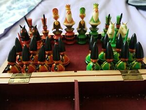 Vintage 1970's Complete Hand Painted CHESS pieces W/Wooden Box.
