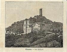 Stampa antica SAN MINIATO veduta panoramica Pisa Toscana 1891 Old antique print