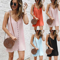 Women Solid Summer Evening Party Sundress Strappy Casual Loose Short Mini Dress