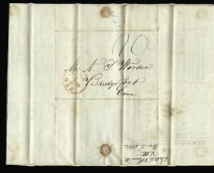 1842 BRIDGEPORT CONNECTICUT STAMPLESS COVER WINDOW GLASS LETTER