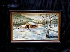 VINTAGE OIL PAINTING; WINTER' BEAUTIFUL BUCKS COUNTY ARTIST CREATED IN 1960S