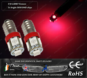 LED SMD E10 Screw Base LLB987 MES Red Dash Speedo Odometer Cluster Bulbs Lights
