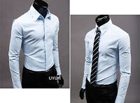 Men's Long Sleeve Formal Dress Shirts Business Work Smart Slim Fit T Shirt Tops
