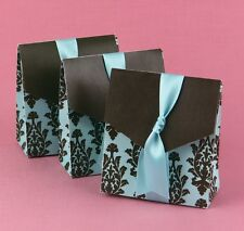 50 Turquoise Brown Flourish Favor Boxes Weddings Baby Showers Anniversary