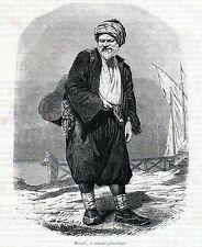 Antique woodcut print Turkey portrait turkish man porter 1866 Türkei  holzstich