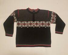 Hanna Andersson Sweater Nordic Fairisle 120 Black Red Gray 6 7 yrs Half Zip Top
