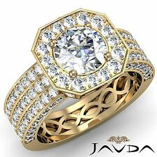 Round Diamond Engagement GIA I SI1 18k Yellow Gold Brilliant Halo Ring 2.97ct