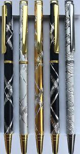 Luxury Laser Cut Ballpoint Pen - Black Gold Or Silver - 2 Designs- Free Post