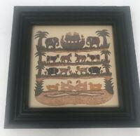 "Signed Scissor Paper Cut Noahs Ark R Hinsdale 1998 Folk Art 6.75"""