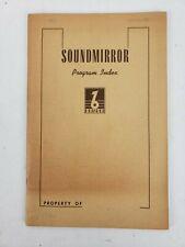 Vintage Soundmirror Brush Development  Program Index Unused 1940's Reel To Reel