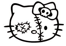 Hello Kitty Zombie Face Decal Sticker Car Bumper Window Wall Cute Cat Adorable