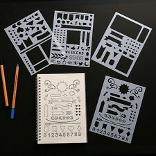 BULLET JOURNAL STENCIL SET 4 PACK - Banners, Dividers, Icons Fits Leuchtturm Mol
