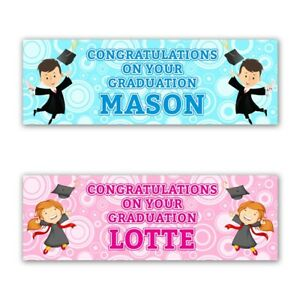 2 Personalised Graduation Party Celebration Banners Decoration Posters