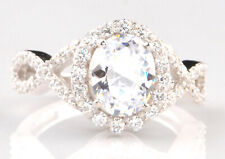 Solitaire With Accents Women's Engagement Ring 14Kt White Gold 2.95Ct Oval Shape
