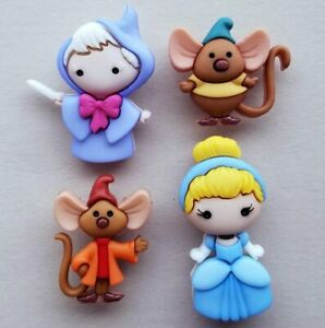 CINDERELLA Disney Craft Buttons Fairy Tale Godmother Jaq Gus Mice Dress It Up