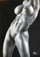 Dibujo de una niña desnuda # 87. Aerografía.