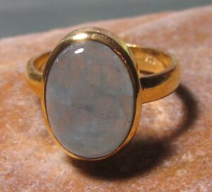 Sterling silver & gold plate cab aquamarine ring UK P-P¼/US 7.75. Gift bag.