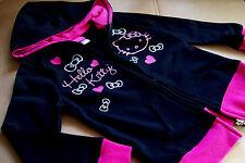 NEW HELLO KITTY BLACK/PINK HOODED & ZIPPER SWEAT JACKET SIZE 5