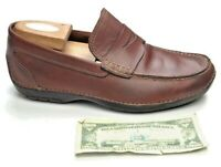 Rockport Cherry Leather Moc Toe Casual Slip On Driving Penny Loafers Men's 8.5W