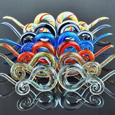 Pair Ear Tunnels Spiral Hand Made Pyrex Glass Earring Tapers Plugs Right & Left