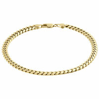 "Men's Real 10K Yellow Gold Handmade Solid Miami Cuban Link 4mm Bracelet 8"" & 9"""