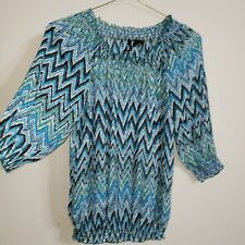 Cato women's top blouse plus size 18/20W sheer 3/4 sleeve round neck ruffle