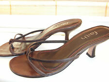 """Faith brown leather strappy between the toes, 2"""" heel party shoes UK size 2.5-3"""