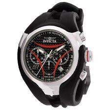 New Invicta Men's 1604 Nitro Black Dial Chronograph Red Accents Rubber Watch