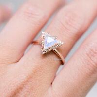 0.75 Ct. Moonstone Triangle Wedding Ring Diamond Solid 14k Rose Gold Jewelry US7