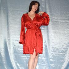 rote Spitze am MORGENMANTEL* L * Satin Negligee* Bademantel* Nachthemd* Kimono