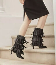 NWT**JIMMY CHOO**Mystery Black Fringe Boots**EU 35.5 $2380