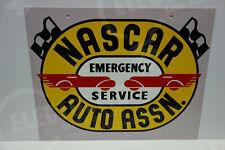 "NASCAR AUTO ASSOCIATION EMERGENCY SERVICE LARGE STEEL ENAMEL SIGN 14"" BY 28"""