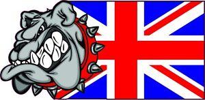 British Flag Bulldog Sticker, BullDog Toolbox Laptop Skateboard Vinyl  Decal a21