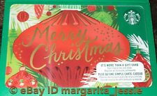 "STARBUCKS CANADA SERIES GIFT CARD ""RED ORNAMENT MERRY CHRISTMAS"" 2017 NO VALUE"