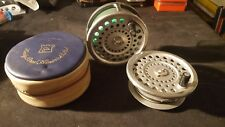 VINTAGE Hardy Marchese SPEY Salmone Fly Reel No.2 con bobina di ricambio.